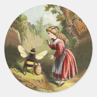 Pote de la miel de la niña de la abeja del vintage pegatina redonda
