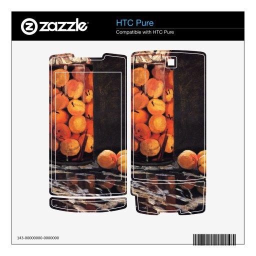 Pote de melocotones de Claude Monet Calcomanías Para HTC Pure