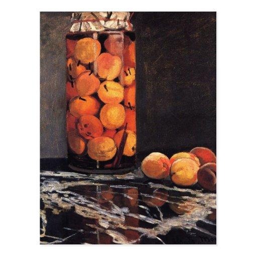 Pote de melocotones de Claude Monet Postales