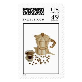 Pote de Moka con el tiro del café express Sellos