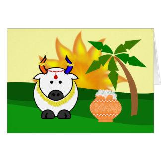 Pote de Pongal, vaca, y tarjeta de felicitación