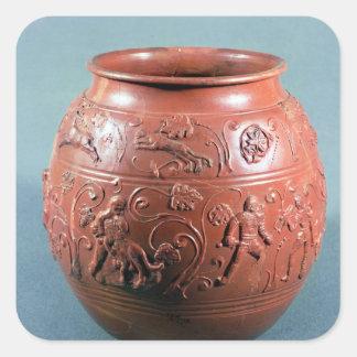 Pote de Sigillated, de Lezoux, Puy-de-Bóveda Pegatina Cuadrada