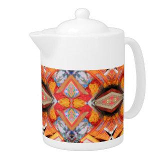 POTE del CAFÉ con el modelo geométrico anaranjado