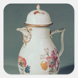 Pote del café de Meissen, c.1740-50 Pegatina Cuadrada