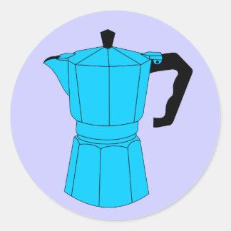 Pote del café del café express de Moka Pegatina Redonda