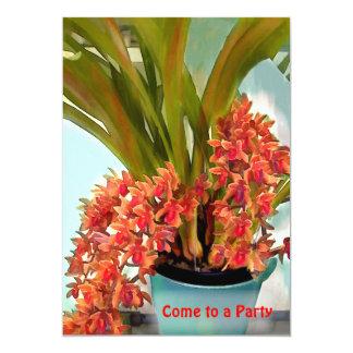 """Pote del fiesta coloreado moho de las orquídeas invitación 5"""" x 7"""""""
