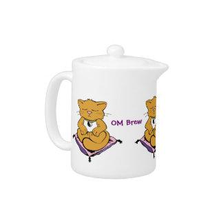 """Pote del té Brew de OM"""" del gato del zen del """""""