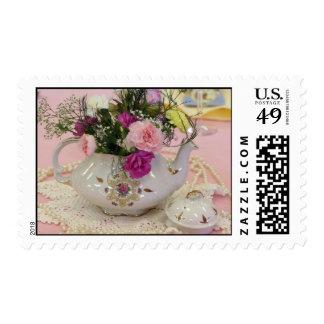 Pote del té, claveles rosados sello