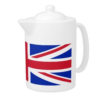 Pote del té de la bandera de Union Jack del inglés