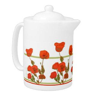 Pote del té de la impresión de la amapola