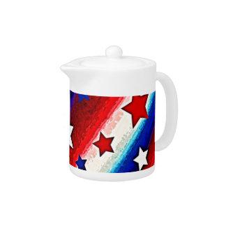 Pote del té de las BARRAS Y ESTRELLAS