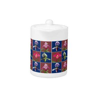 Pote del té de las orquídeas de deslizador