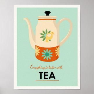 Pote del té de los mediados de siglo póster