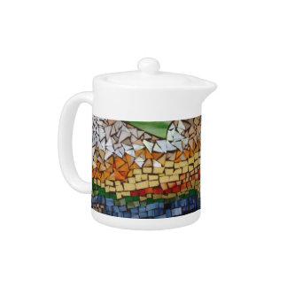 Pote del té de montaña del mosaico por