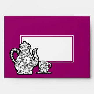 Pote del té de Paisley de la fiesta del té con col Sobres