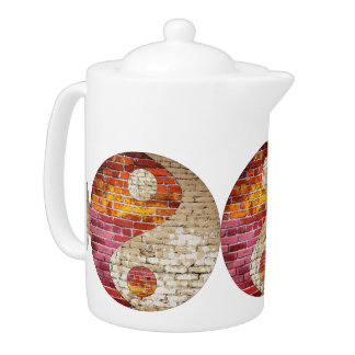 Pote del té de Yin Yang del ladrillo