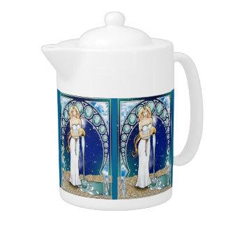 Pote del té del acuario de Nouveau del arte