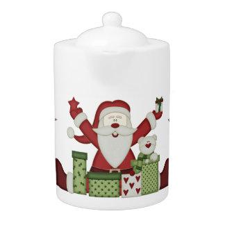 Pote del té del navidad de Santa del arte del KRW