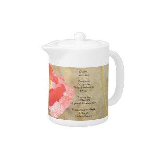 Pote del té del poema de la felicidad de las expre