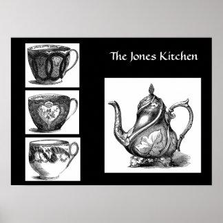 Pote del té del Victorian y poster de las tazas