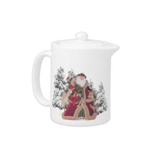 Pote del té del vintage de Santa y de los renos