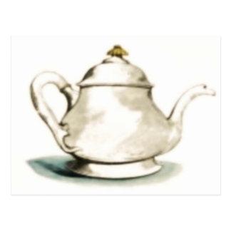 Pote del té del vintage tarjeta postal