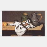 Pote del verde del ~ de Paul Cezanne y jarro 1870 Pegatina Rectangular