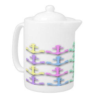 Pote en colores pastel del té del modelo del ancla