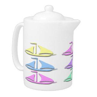 Pote en colores pastel del té del modelo del barco