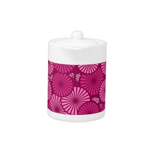 Pote floral retro hermoso, rosado del té