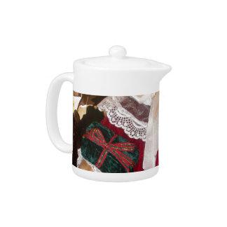 Pote hermoso del té del navidad