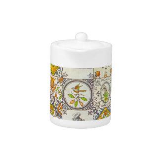 Pote holandés del té de las baldosas cerámicas
