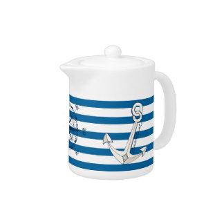 Pote horizontal azul y blanco náutico del té de la