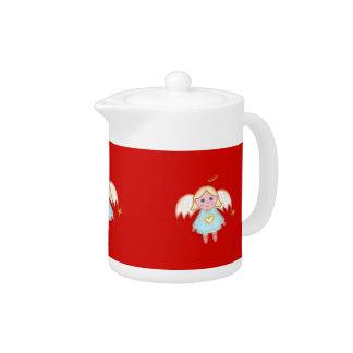 Pote lindo del té del ángel del navidad