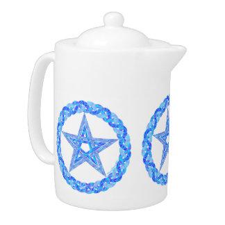 Pote mágico del té del arte azul pagano del