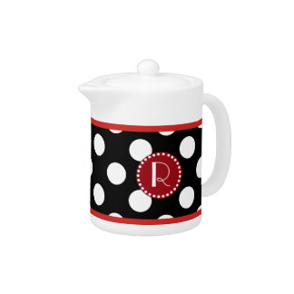 Pote negro blanco y rojo del té del monograma