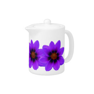 Pote púrpura del té de la flor