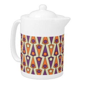 Pote púrpura y anaranjado primitivo del té del mod