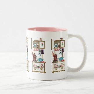 Pote retro antiguo del café de la estufa de cocina taza de dos tonos