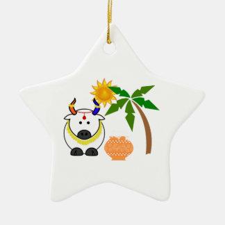 Pote, vaca, y árbol de Pongal Adorno Navideño De Cerámica En Forma De Estrella