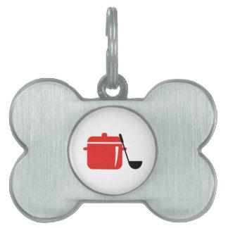 Pote y cucharón placa mascota