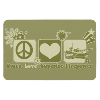 Potencia de fuego del superior del amor de la paz imán rectangular