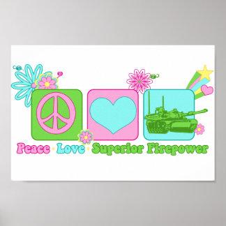 Potencia de fuego del superior del amor de la paz póster