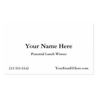 Potential Lunch Winner Business Cards