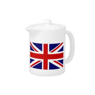 Potes británicos de encargo del té de la bandera
