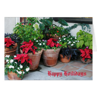 Potes coloridos del Poinsettia y día de fiesta de Tarjeta De Felicitación