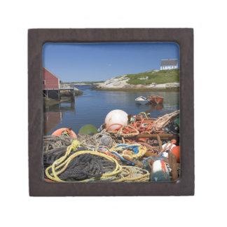 Potes de langosta, boyas, y cuerdas en el muelle e caja de regalo de calidad