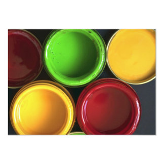 Potes de pintura ilustrativos invitación 12,7 x 17,8 cm