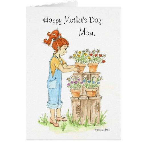 Potes del día de madre de flores tarjeta de felicitación