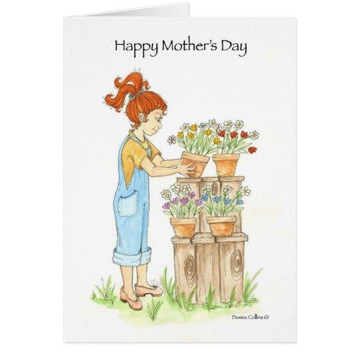 Potes del jardín del día de madre felicitaciones
